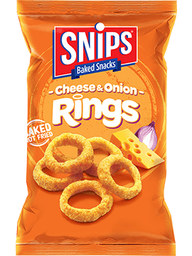 A bag of SNIPS Cheese & Onion Rings