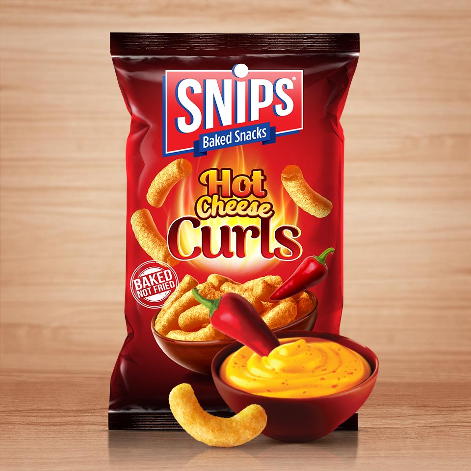 A bag of Snips Hot Cheese Curls