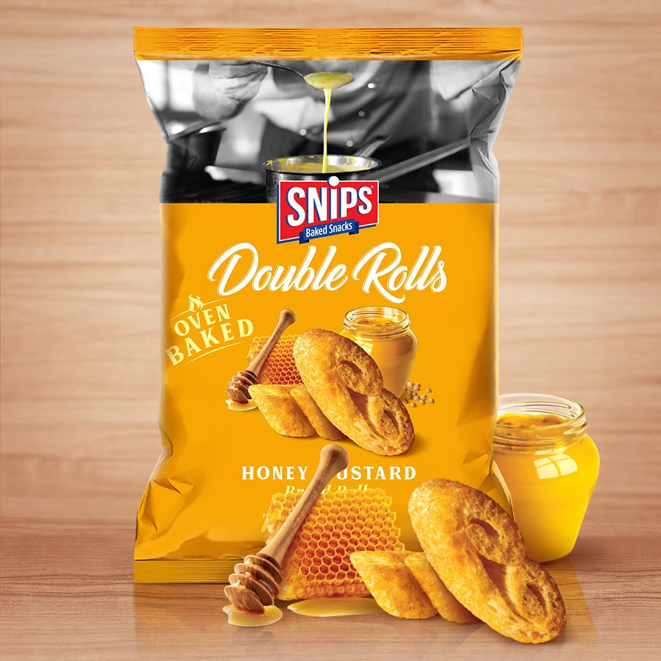 A bag of SNIPS Double Rolls - Honey Mustard