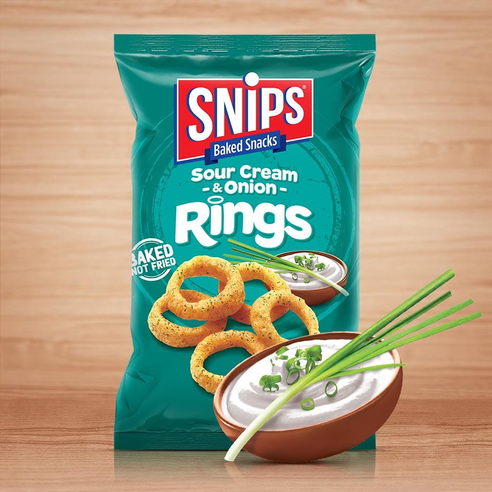 A bag of SNIPS Sour Cream & Onion - Rings